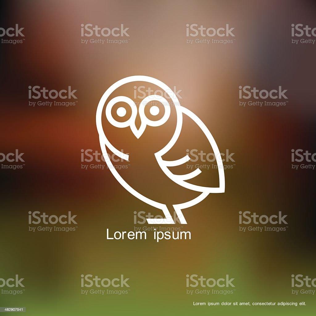 Stylized owl icon vector art illustration