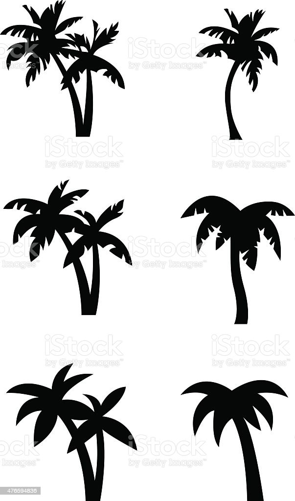 Stylized palm tree silhouettes vector art illustration