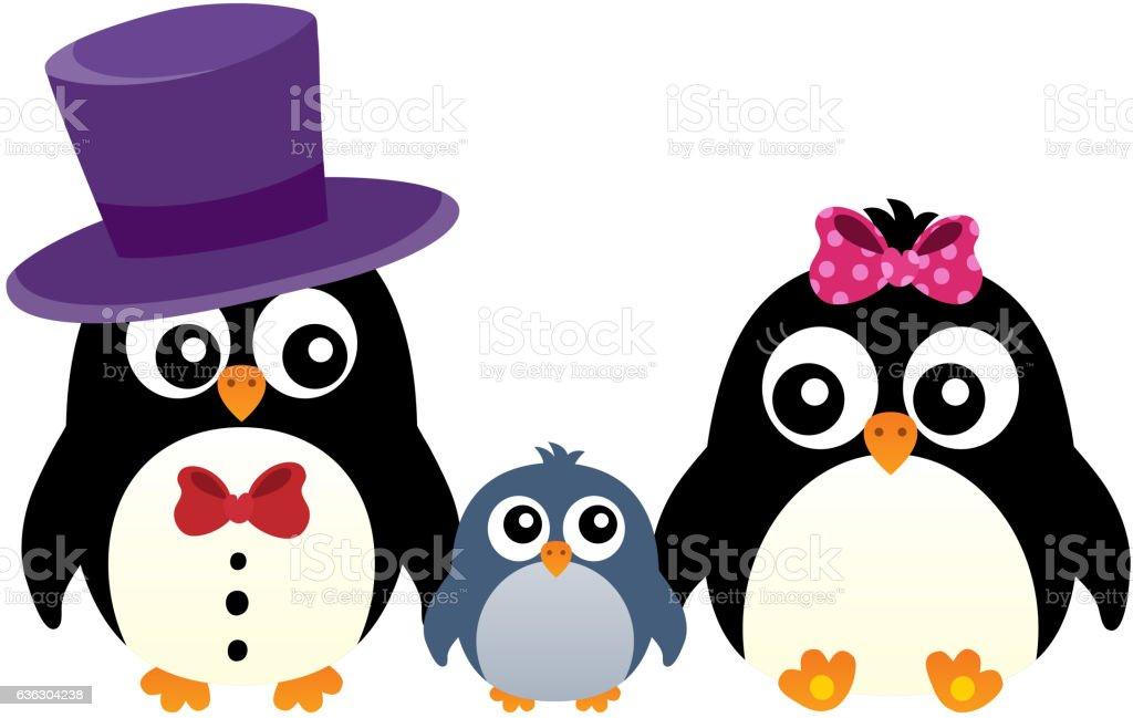 Stylized penguin family image 1 vector art illustration