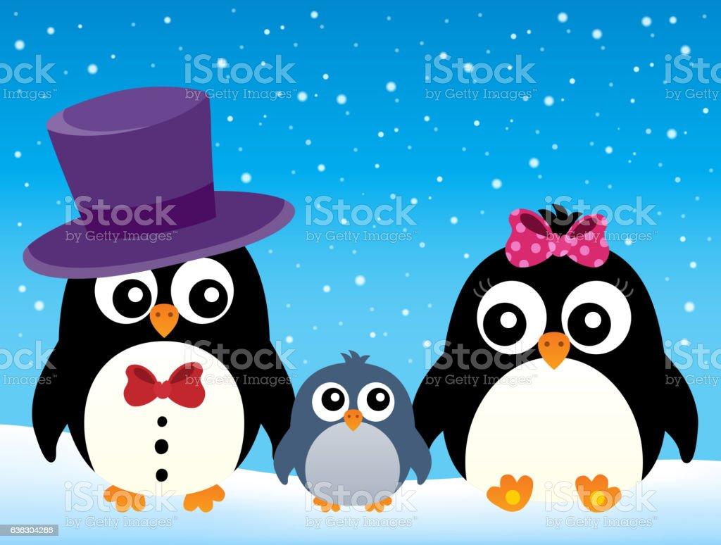 Stylized penguin family image 2 vector art illustration