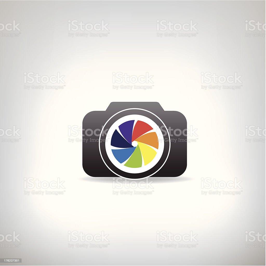 stylized photo camera vector art illustration