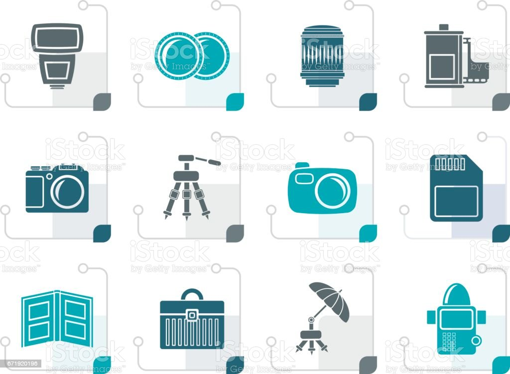 Stylized Photography equipment icons vector art illustration