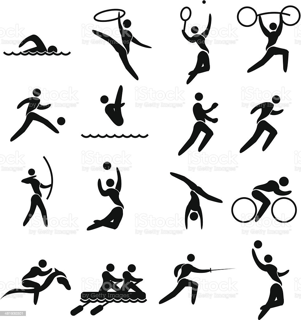 Stylized olympic pictogram set royalty-free stock vector art