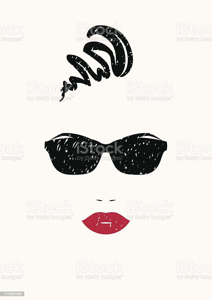 Stylized portrait of beautiful woman in black sunglasses. vector art illustration