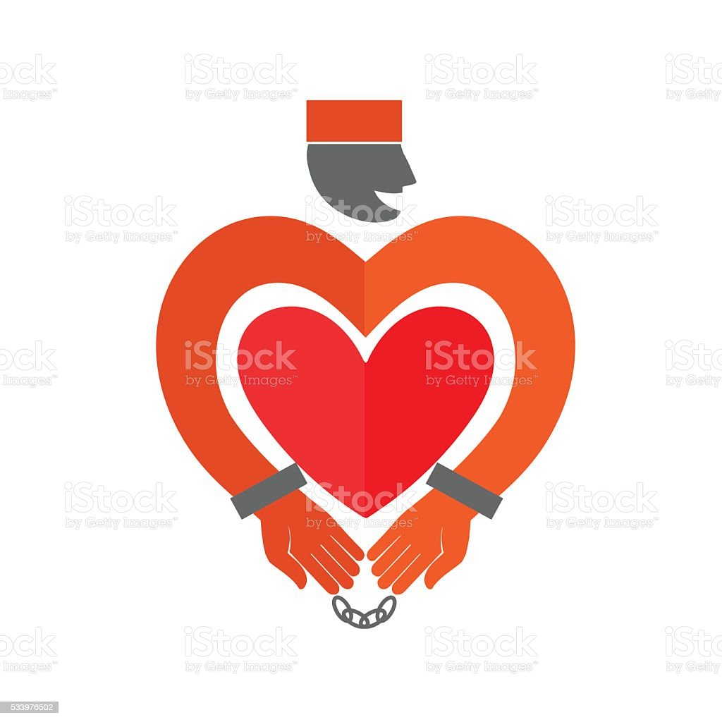 Stylized Prisoner with  heart icon. Online Dating. vector art illustration