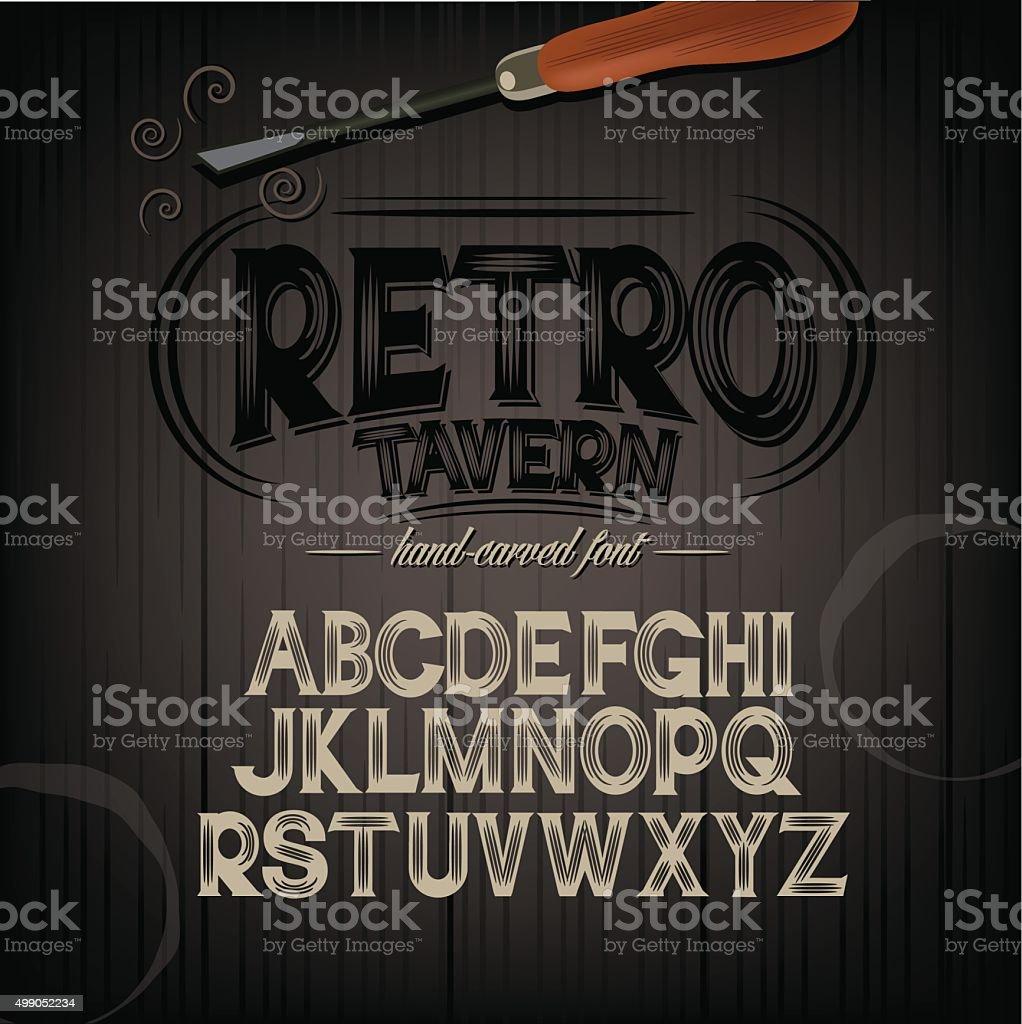 Stylized pub tavern bar carved hand drawn font vector art illustration