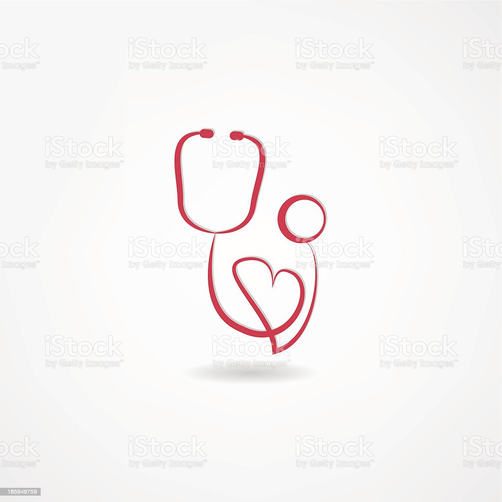 Stylized red and white stethoscope and heart icon vector art illustration