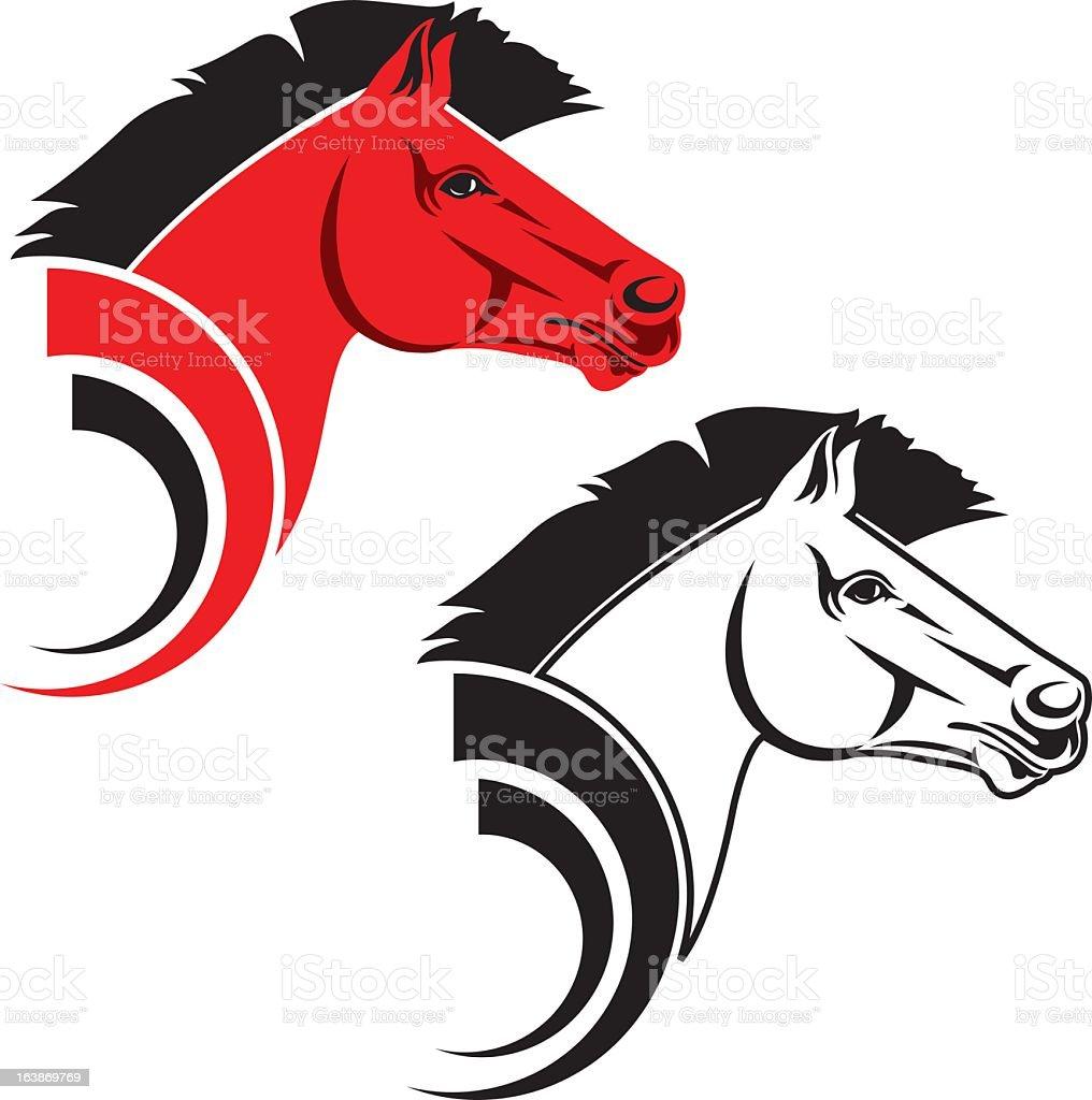 Stylized Red Stallion vector art illustration
