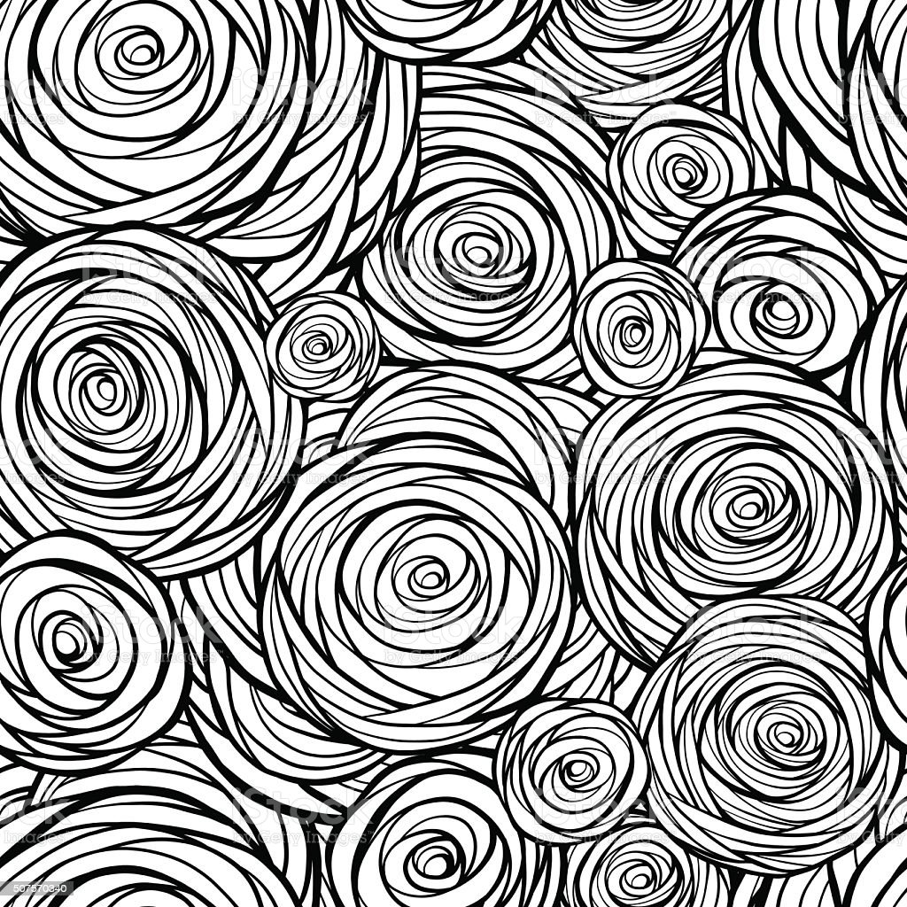 Stylized roses seamless pattern vector art illustration