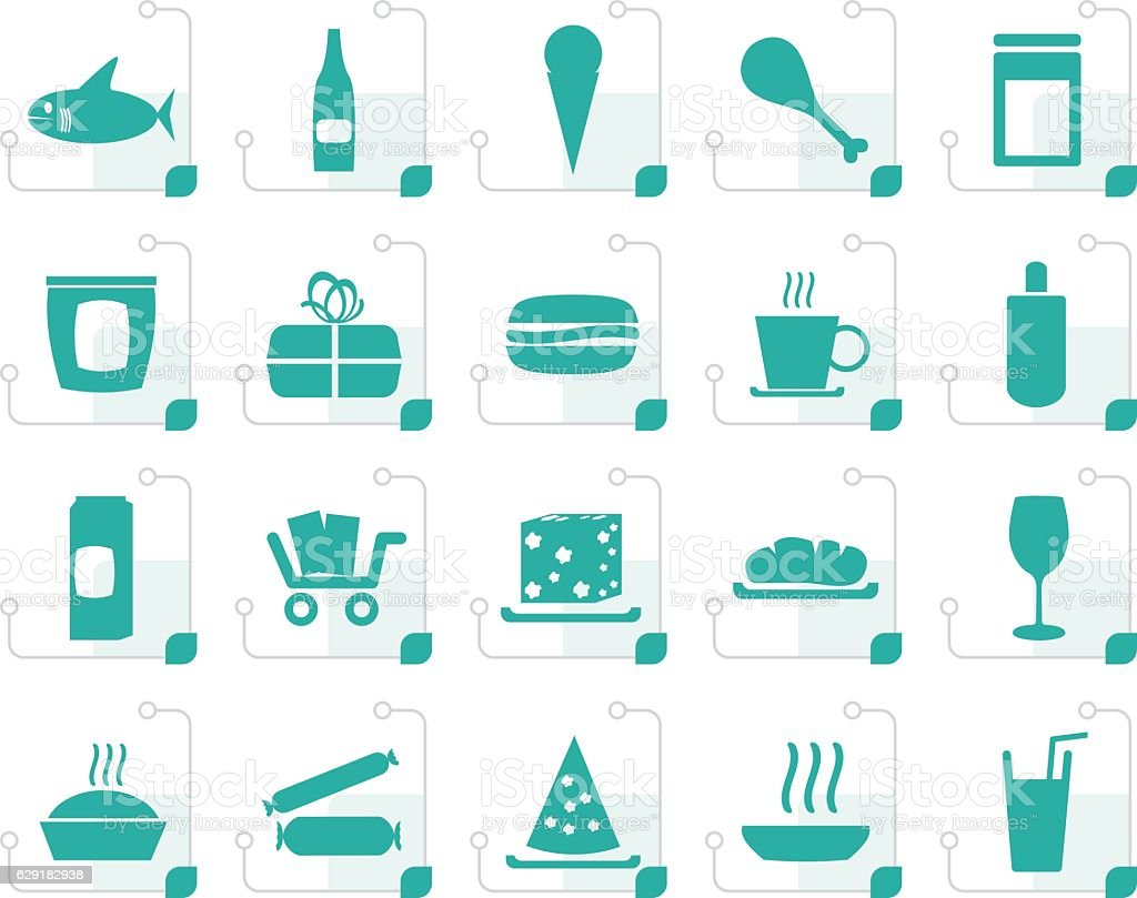 Stylized Shop and Foods Icons vector art illustration