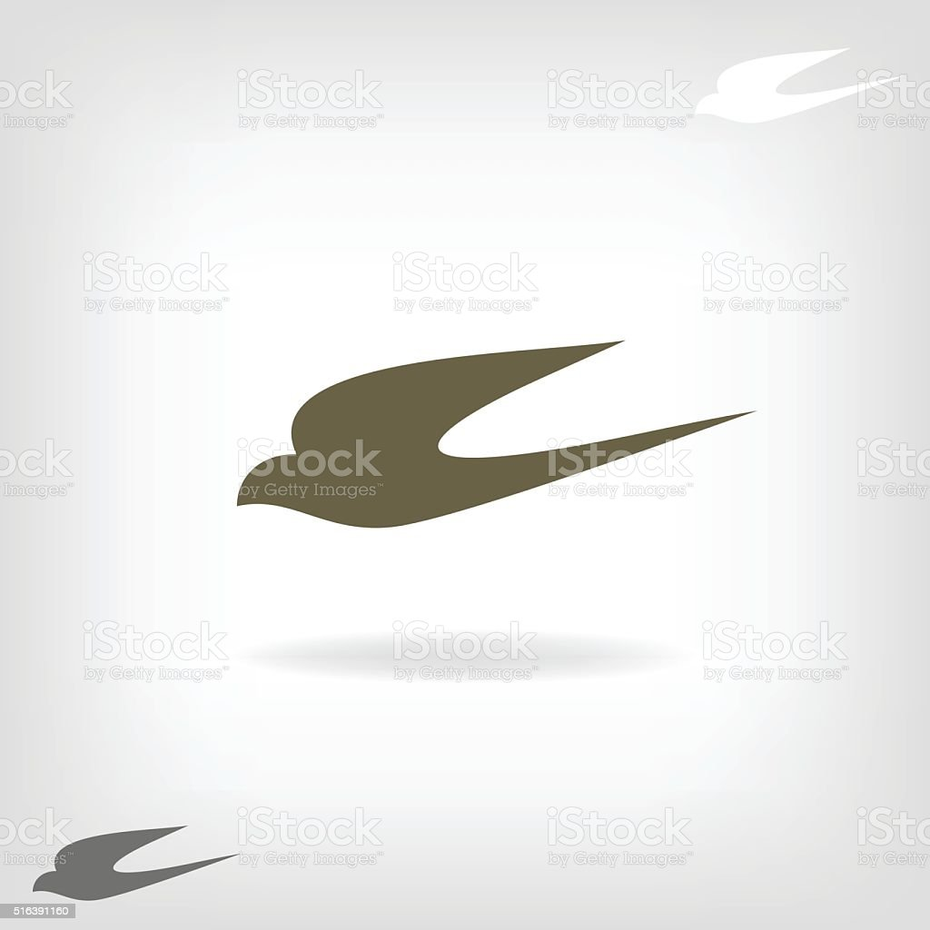 Stylized silhouette swallow vector art illustration