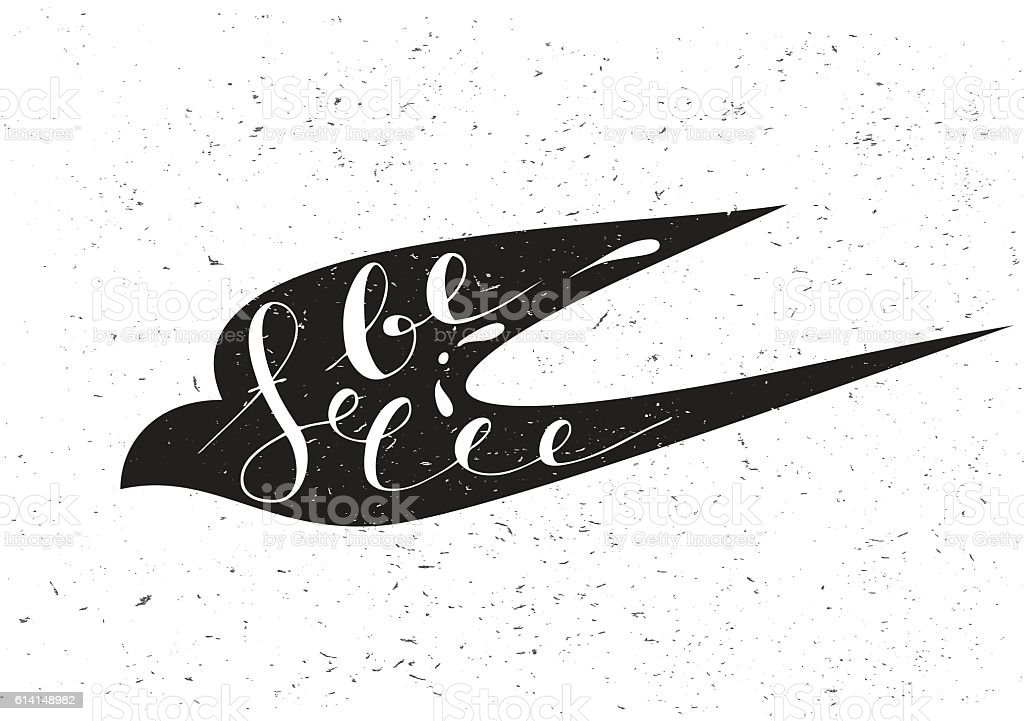 Stylized silhouette swallow with motivation quote Be free. vector art illustration