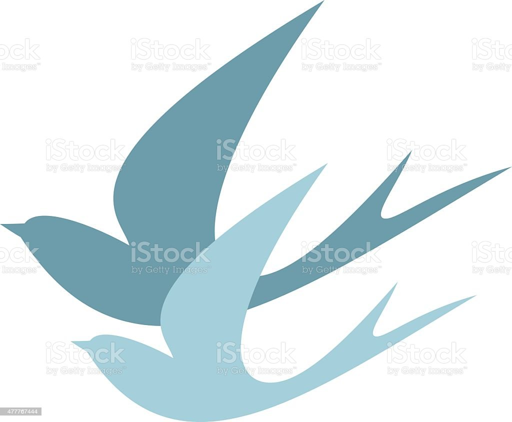 stylized silhouettes of two swallows vector art illustration
