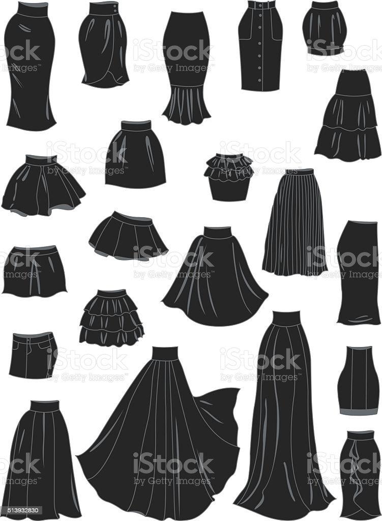 Stylized silhouettes of women's skirts vector art illustration