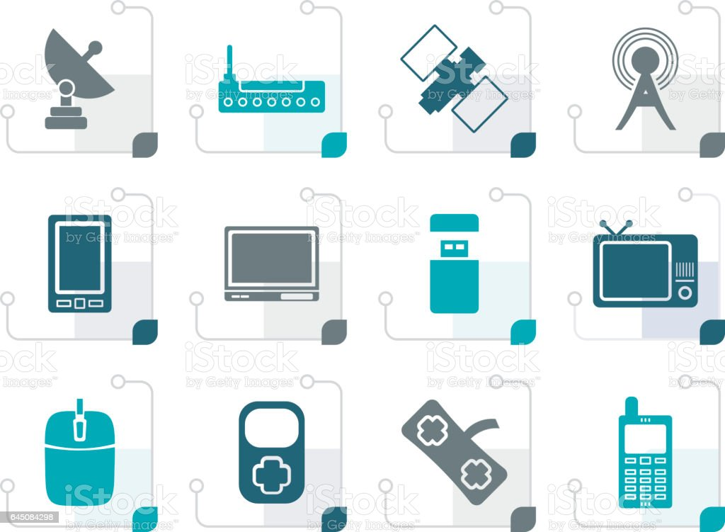 Stylized technology and Communications icons vector art illustration