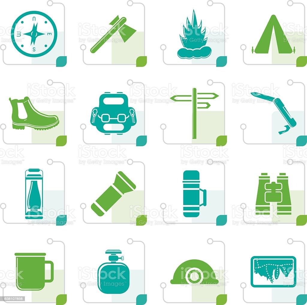 Stylized Tourism and Holiday icons vector art illustration