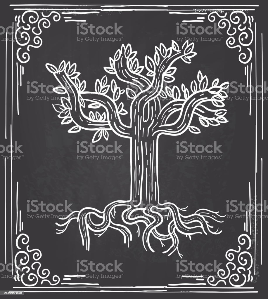Stylized tree design on chalkboard background and frame vector art illustration