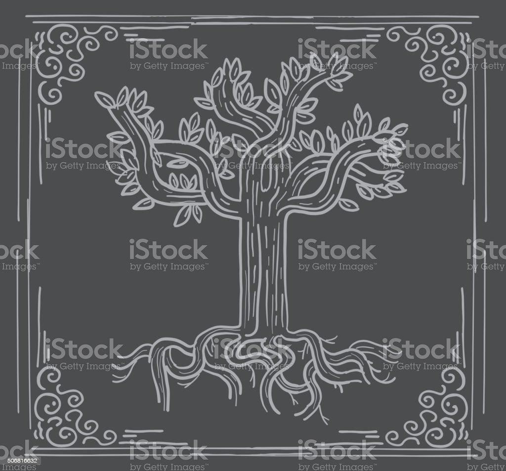 Stylized tree design on textured background and frame vector art illustration