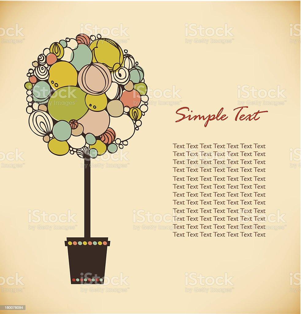 Stylized tree in pot, vector bonsai royalty-free stock vector art