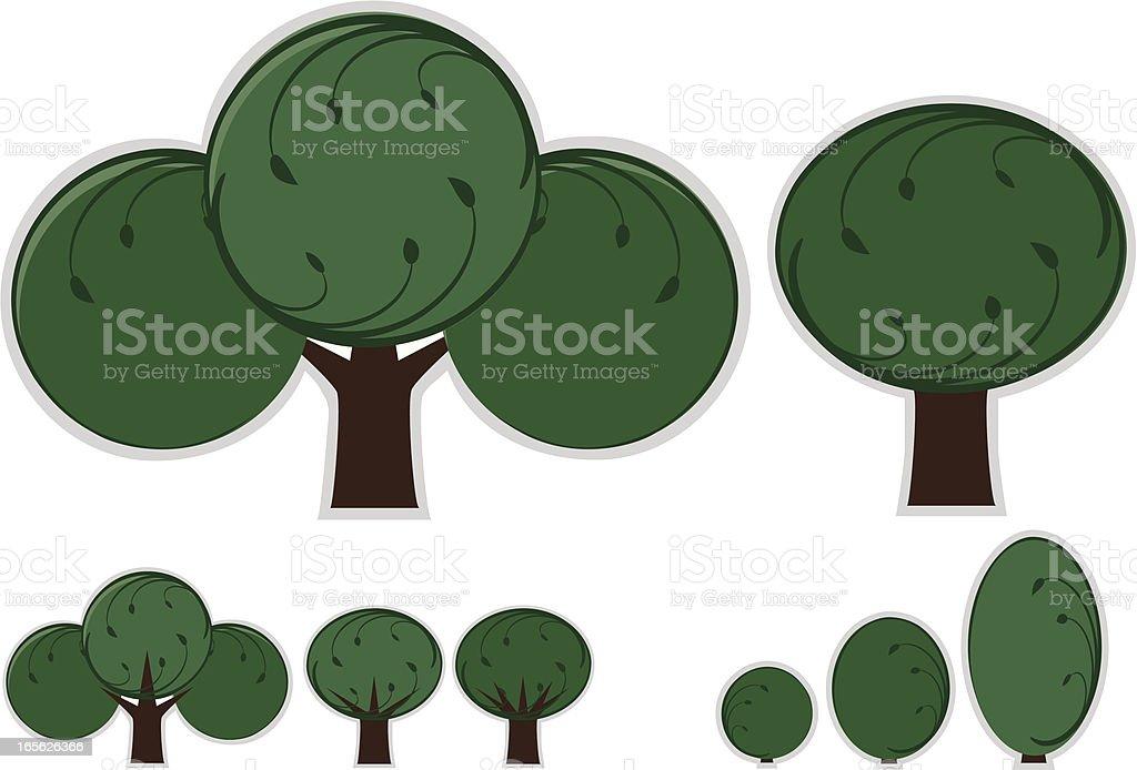 Stilisierte Bäumen und Büschen Set Lizenzfreies vektor illustration