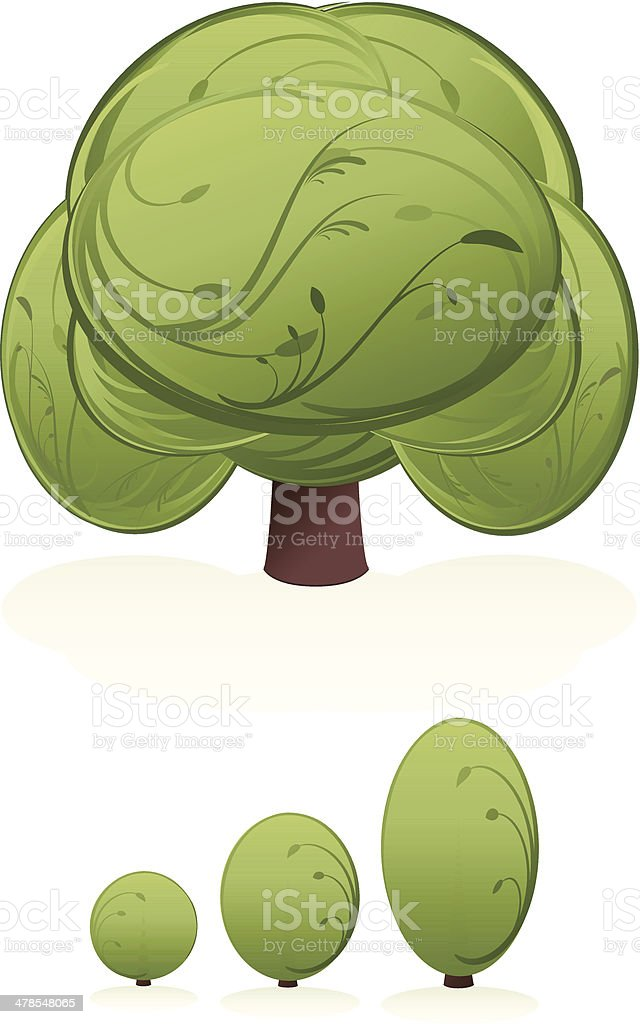 Stylized Trees and Bushes Set royalty-free stock vector art