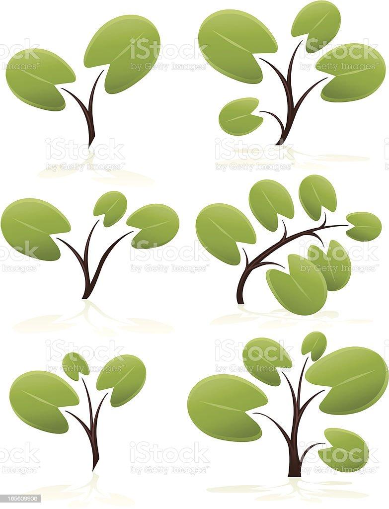 Stilisierte Bäume mit abgerundeter Blätter Set Lizenzfreies vektor illustration