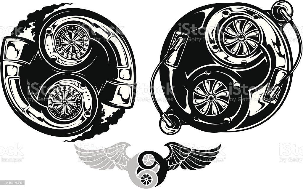 Stylized turbocharger Ying Yang symbol vector art illustration