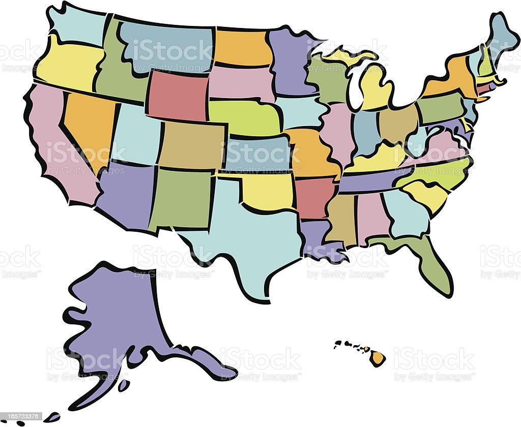 Stylized United States map royalty-free stock vector art