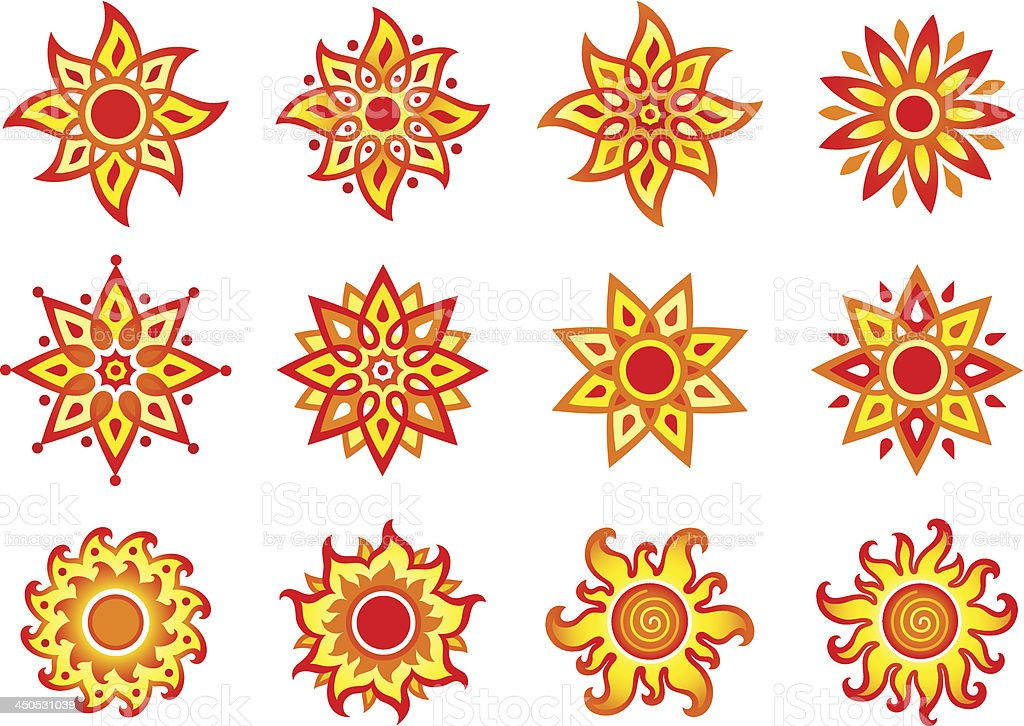 Stylized vector suns royalty-free stock vector art