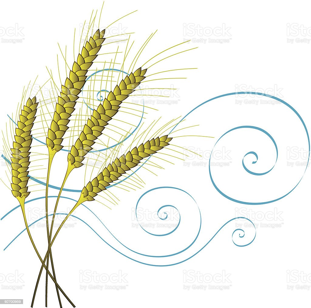 Stylized Wheat and Wind royalty-free stock vector art