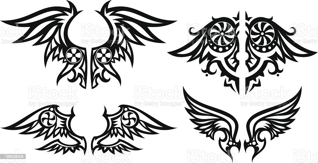 Stylized wings set royalty-free stock vector art
