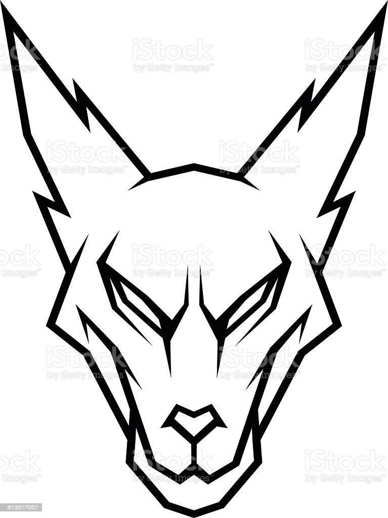 Stylized wolf head vector art illustration