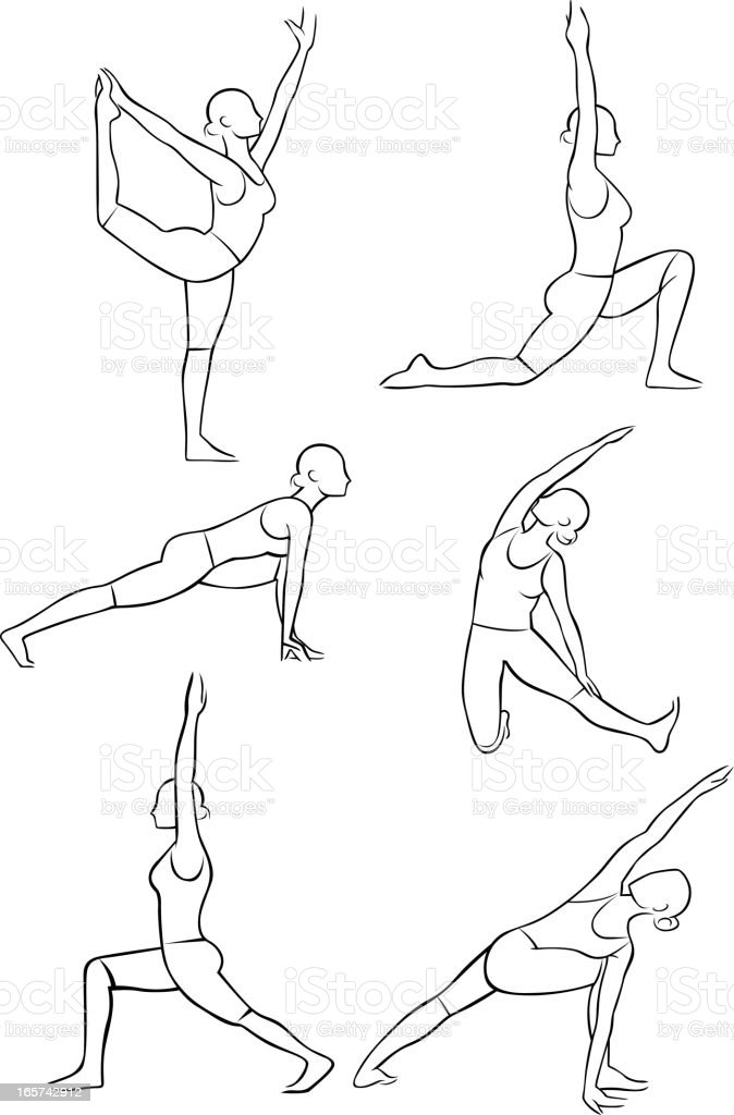 Stylized yoga illustrations - Standing royalty-free stock vector art