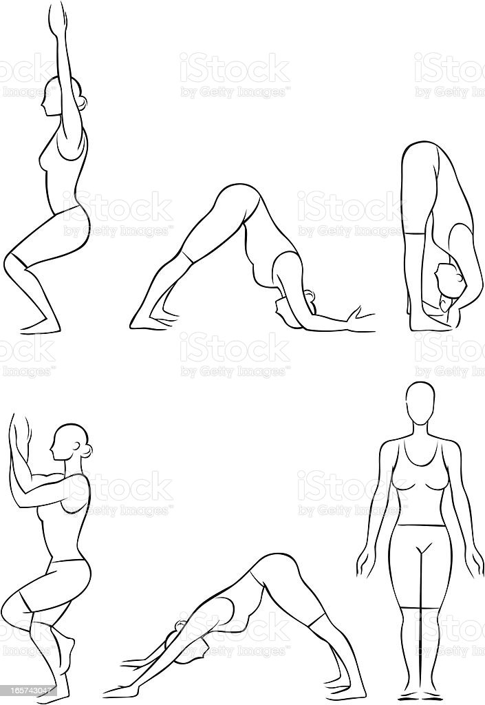 Stylized yoga illustrations - Standing royalty-free stock vector art