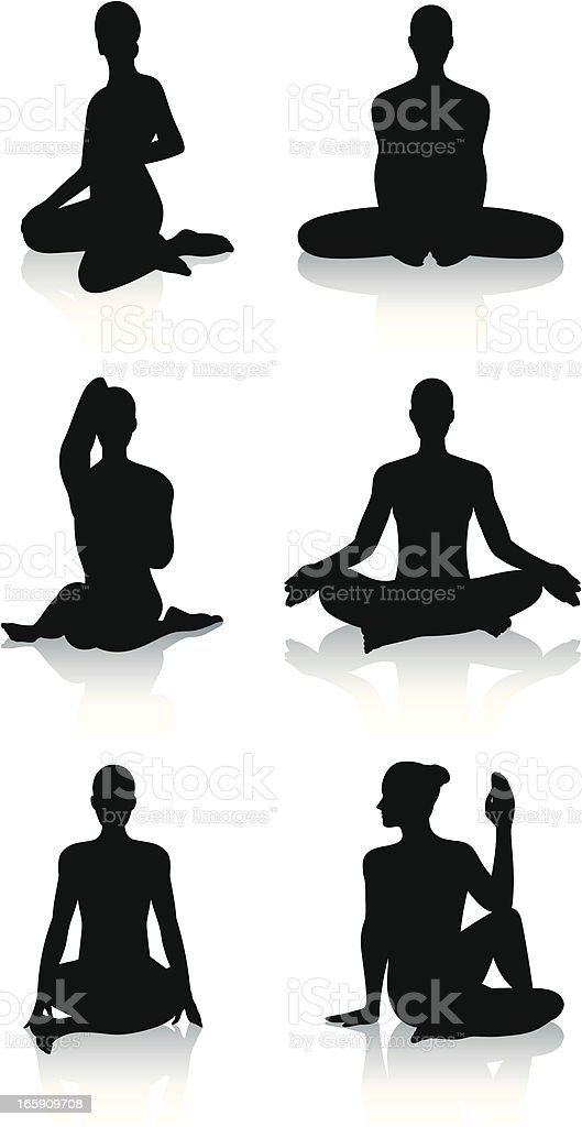 Stylized yoga silhouettes - Seated vector art illustration