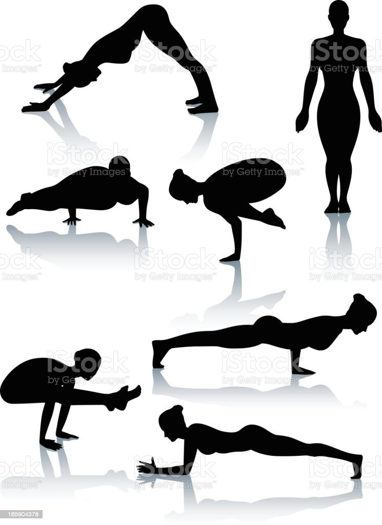 Stylized yoga silhouettes vector art illustration