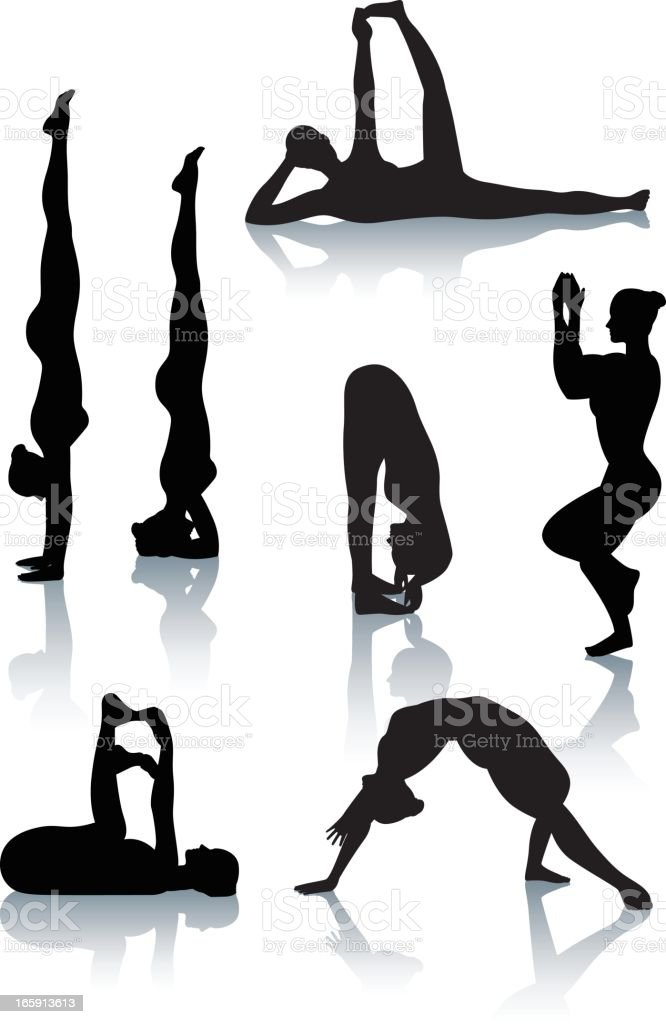 Stylized yoga silhouettes royalty-free stock vector art
