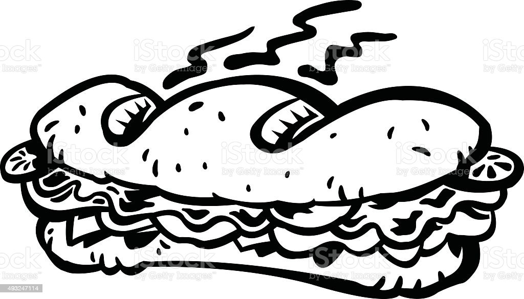 Sub sandwich vector art illustration