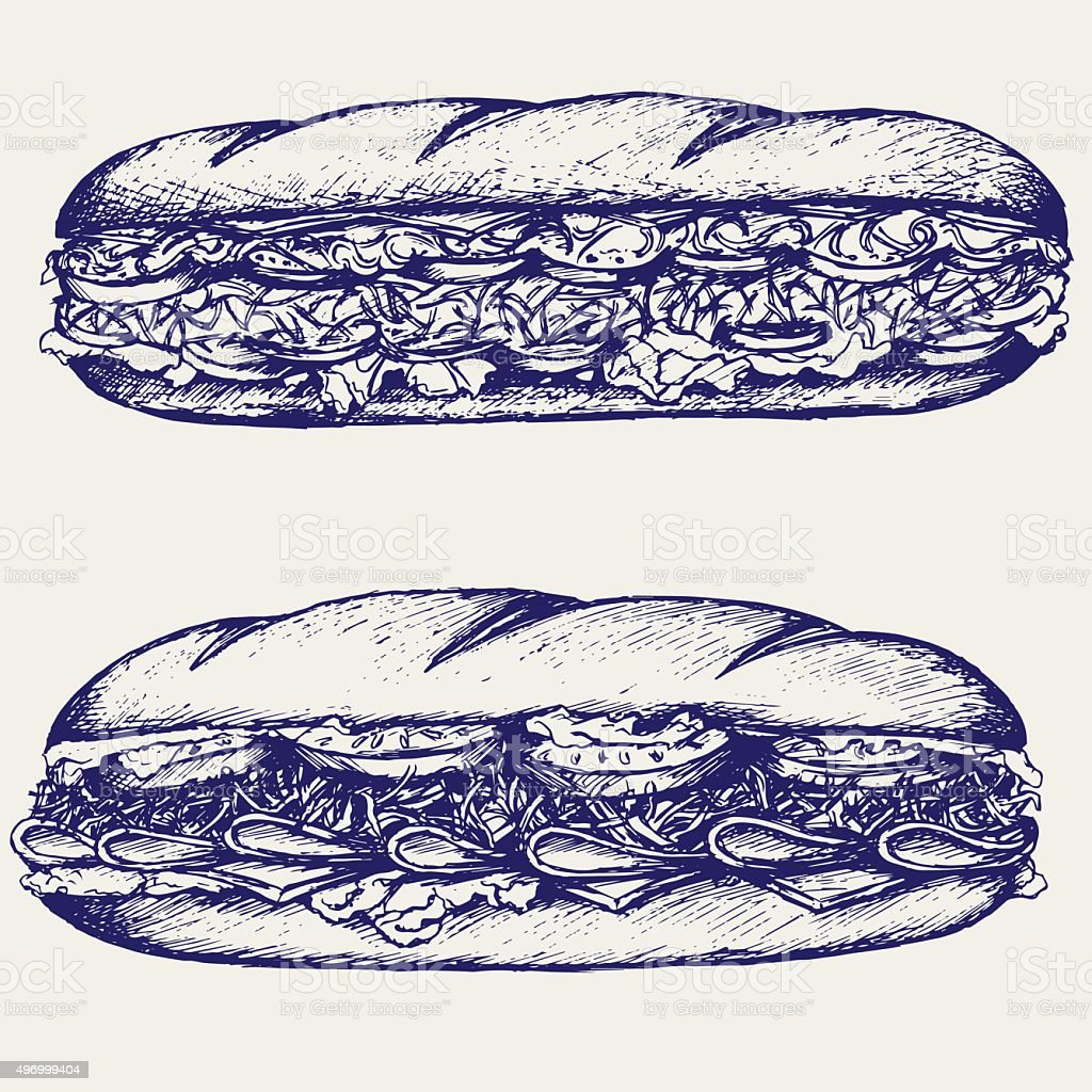 Sub Sandwich with sausage, cheese, lettuce and tomato vector art illustration
