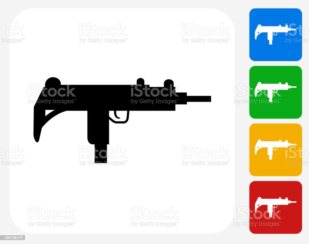 Sub-Machine Gun Icon Flat Graphic Design vector art illustration