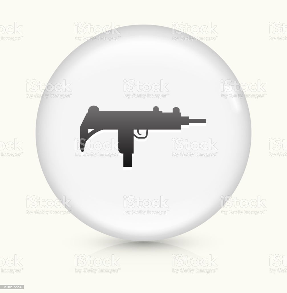 Sub-Machine Gun icon on white round vector button vector art illustration