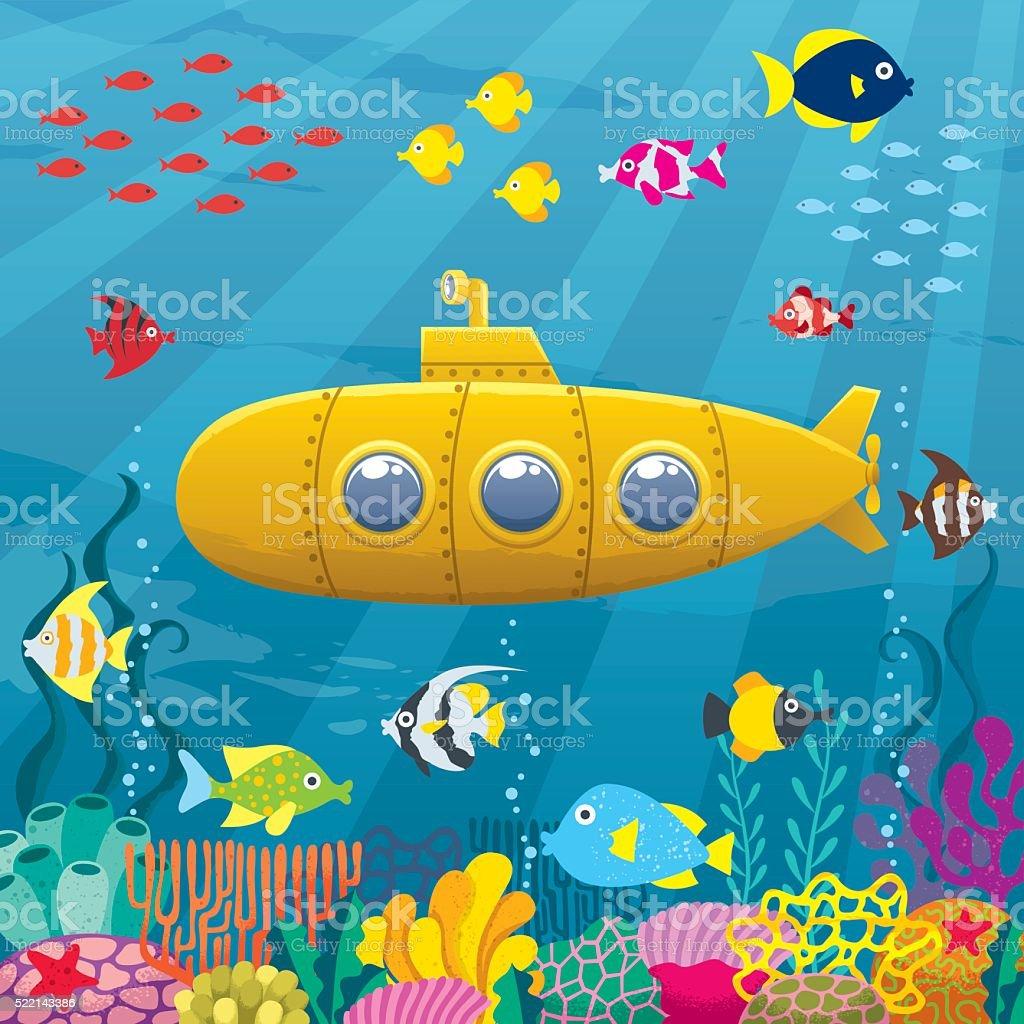 Submarine Background vector art illustration