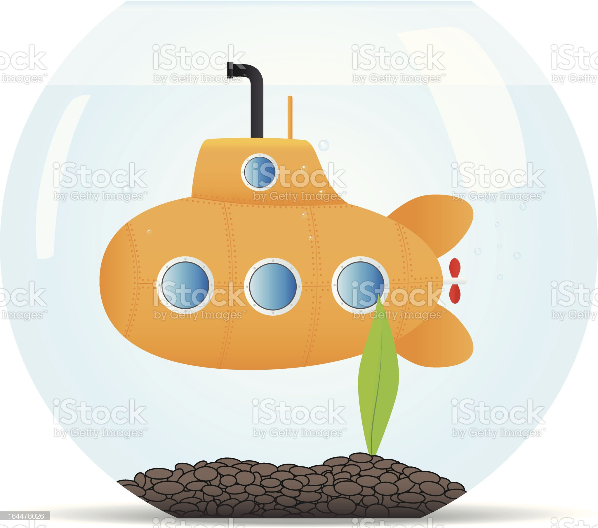 Submarine in fish tank royalty-free stock vector art