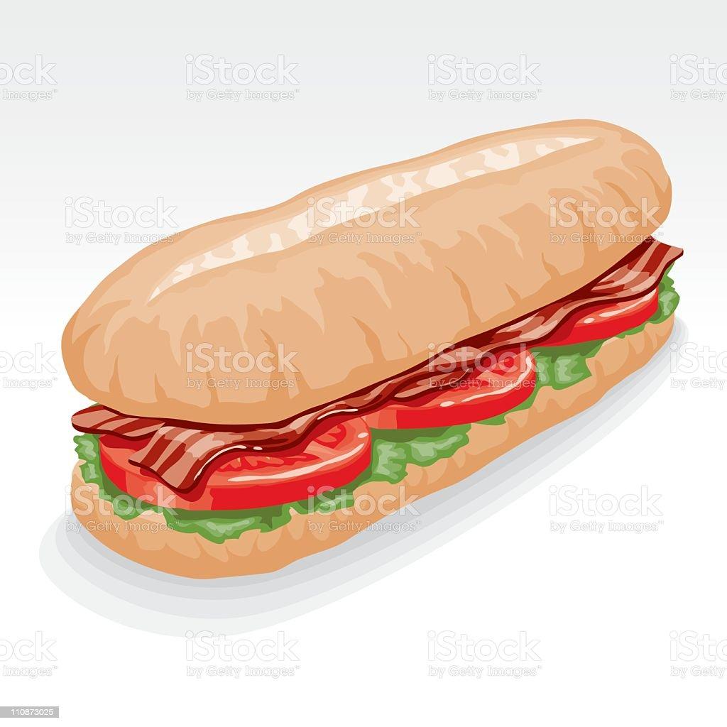 BLT Submarine Sandwich royalty-free stock vector art