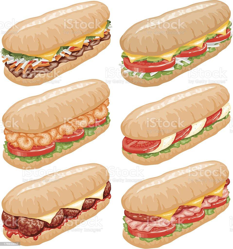 Submarine Sandwiches Icon Set vector art illustration