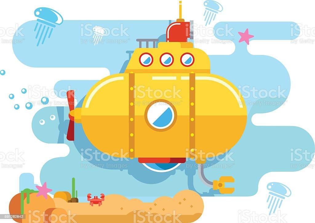 Submarine Under Water vector art illustration