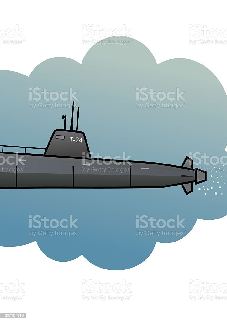 submarine vector art illustration