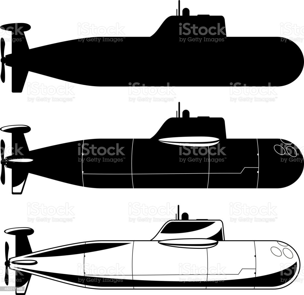 Submarine War Icons royalty-free stock vector art
