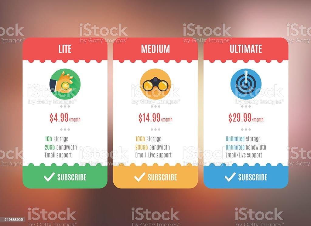 Subscription/pricing plan template. vector art illustration