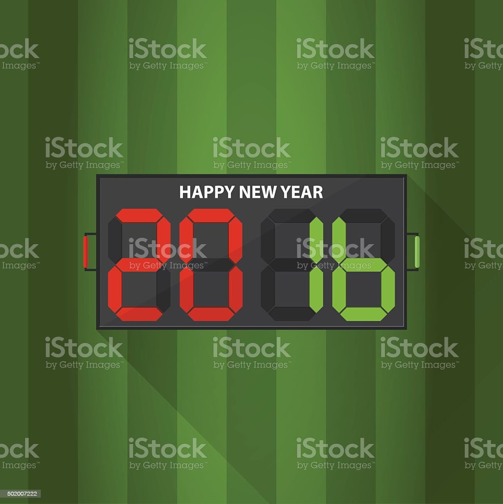 Substitution board with Happy New Year massage on football filed vector art illustration